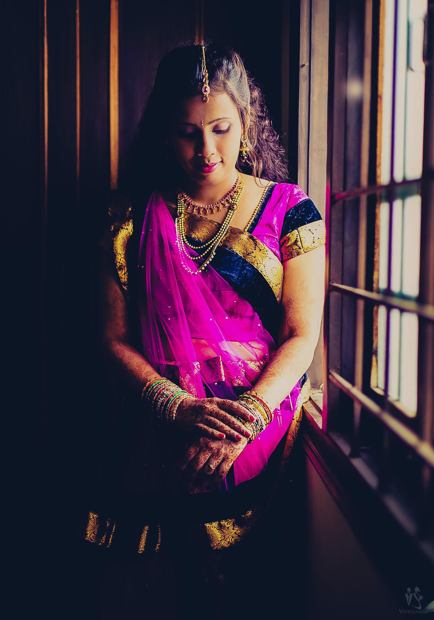bride portait beside window at Bangalore