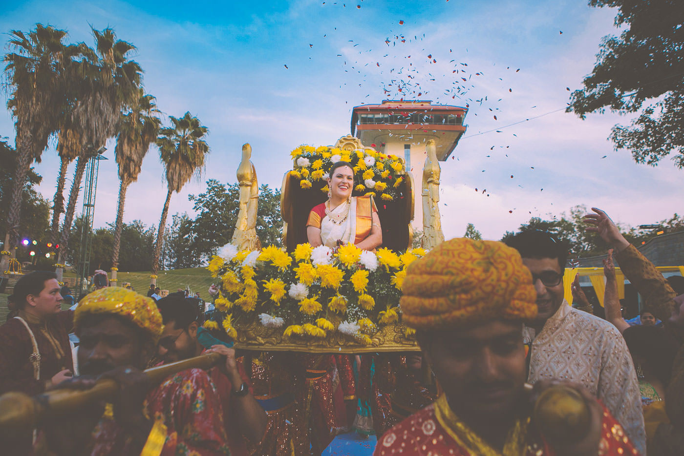 candid moment of bride entering mandapam