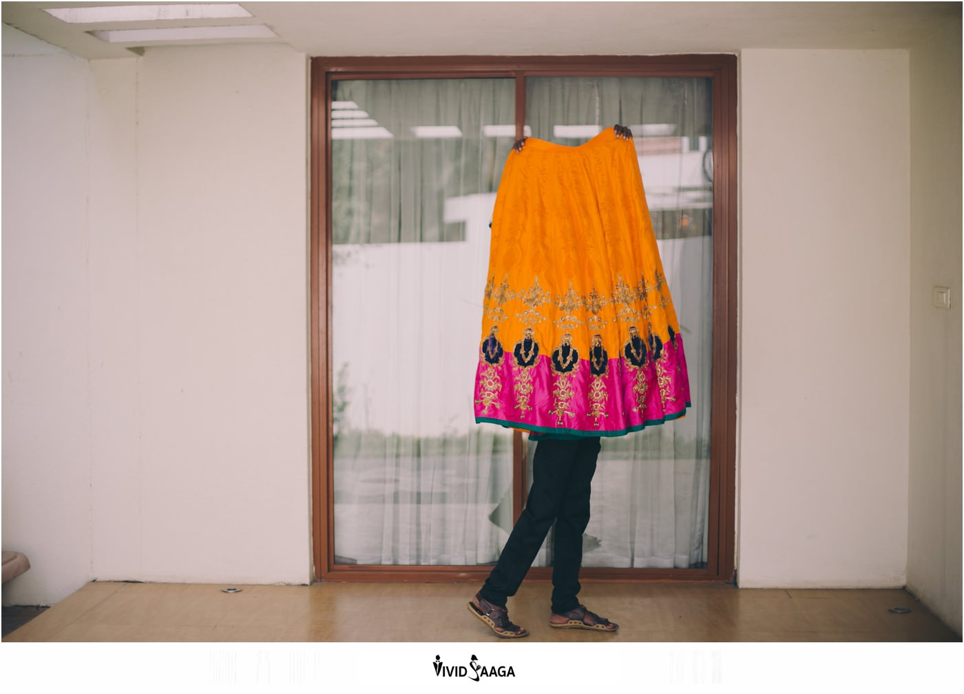 Creative capturing of bride's dress