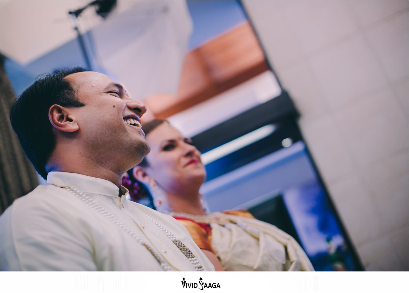 Candid moment of bride and groom getting ready at Golconda resort