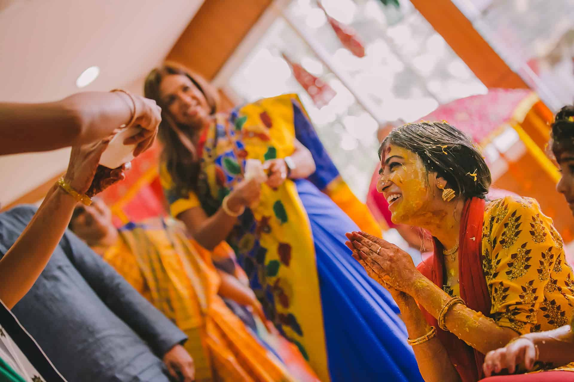 Bride pleading her friend not add more haldi