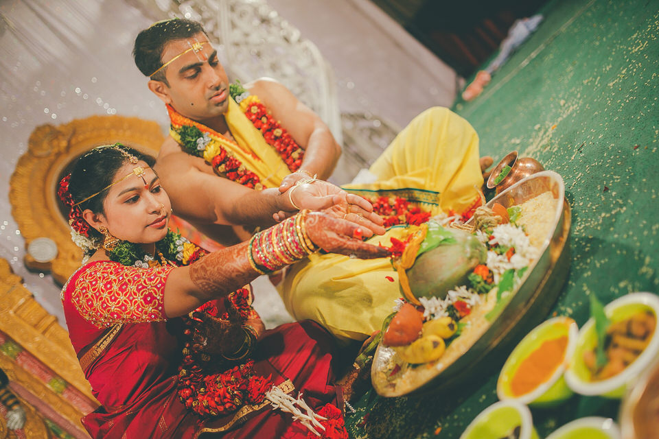 bride and groom pooja in a south indian wedding