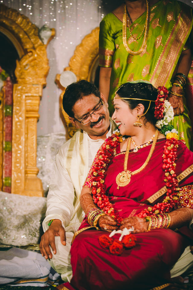 bride and dad during wedding ceremony at a south indian wedding