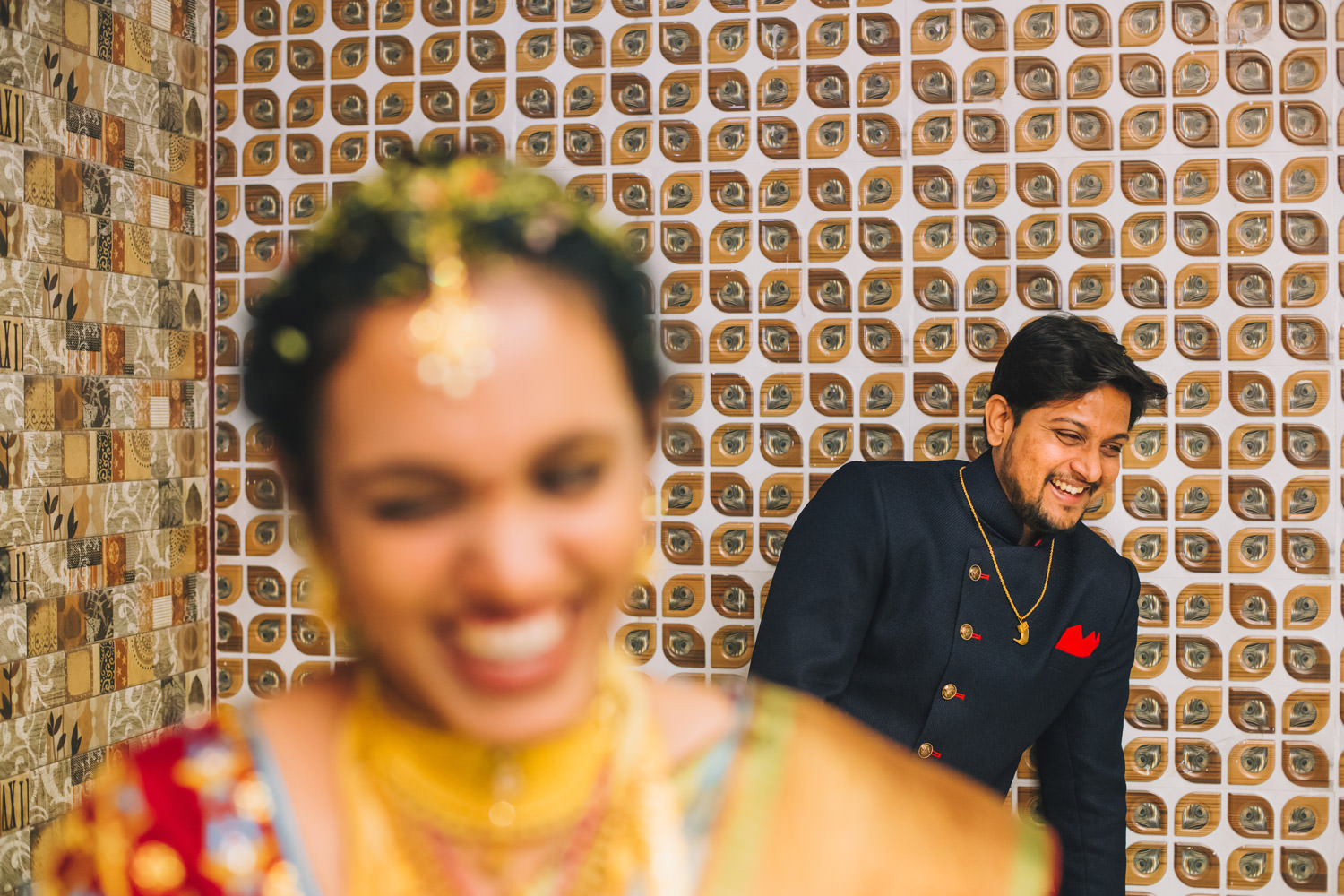 Bride and groom having fun at their telugu weddings
