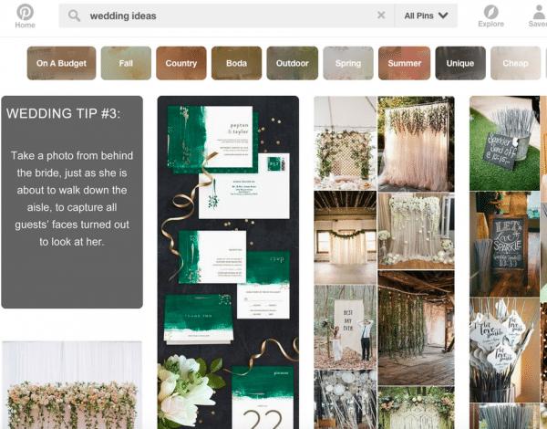 pintrest search wedding ideas